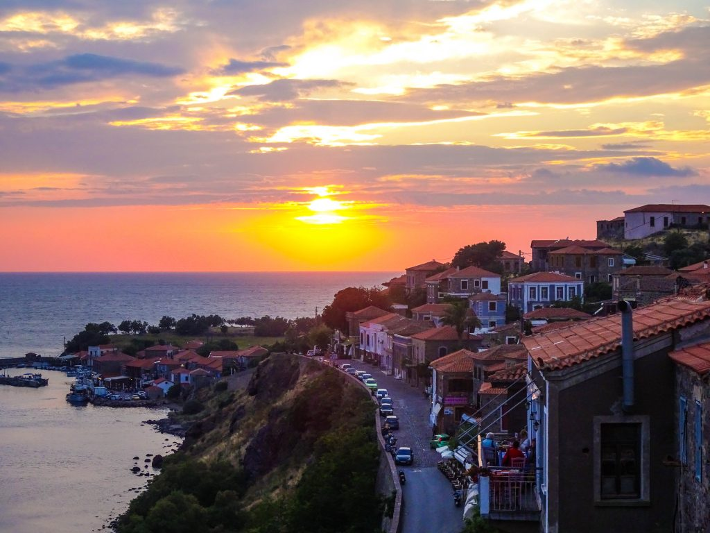 Lesbos-Griekenland-sunset-Molyvos