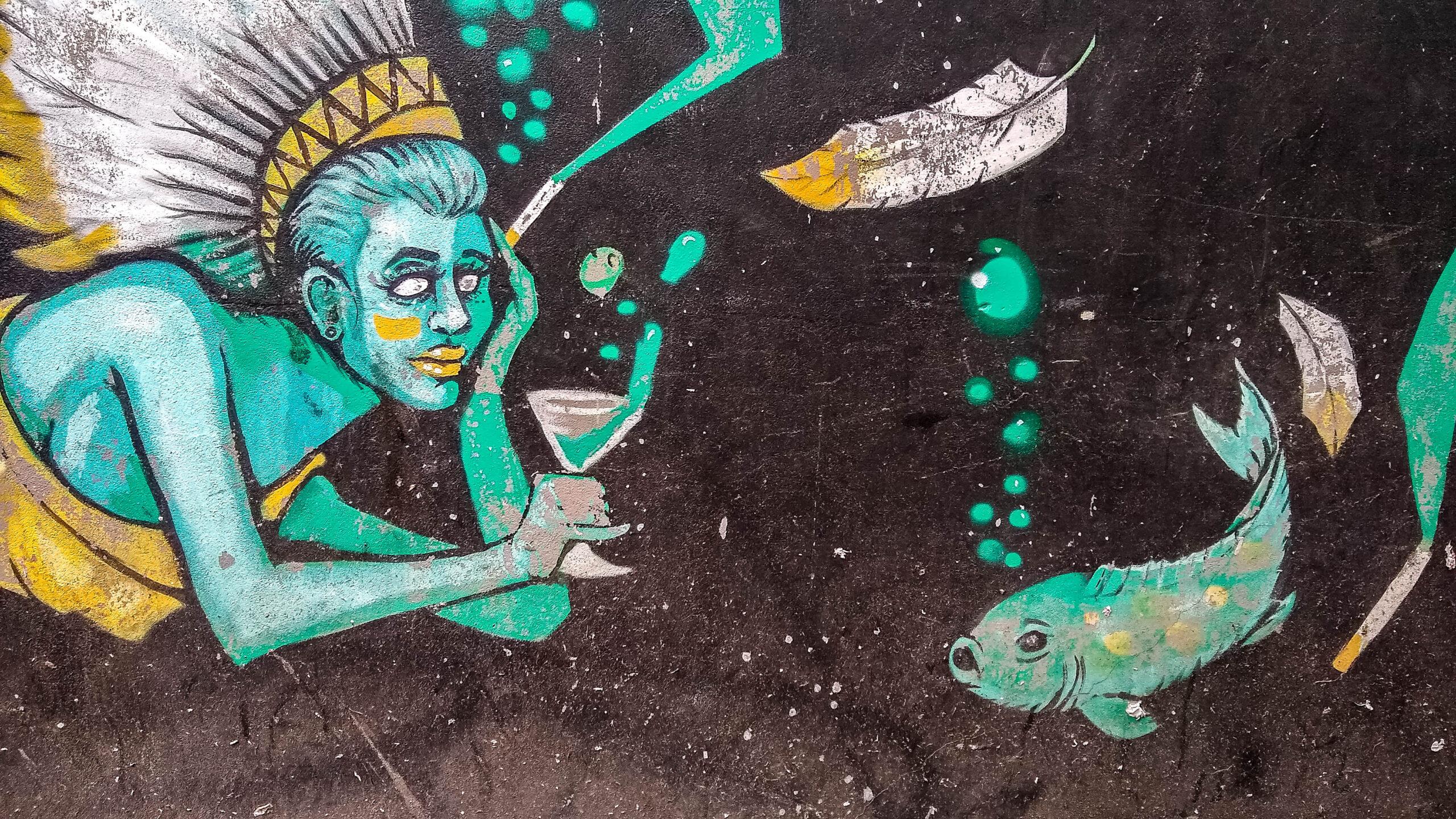 Street-art-Breda-zeemeermin-met-vis