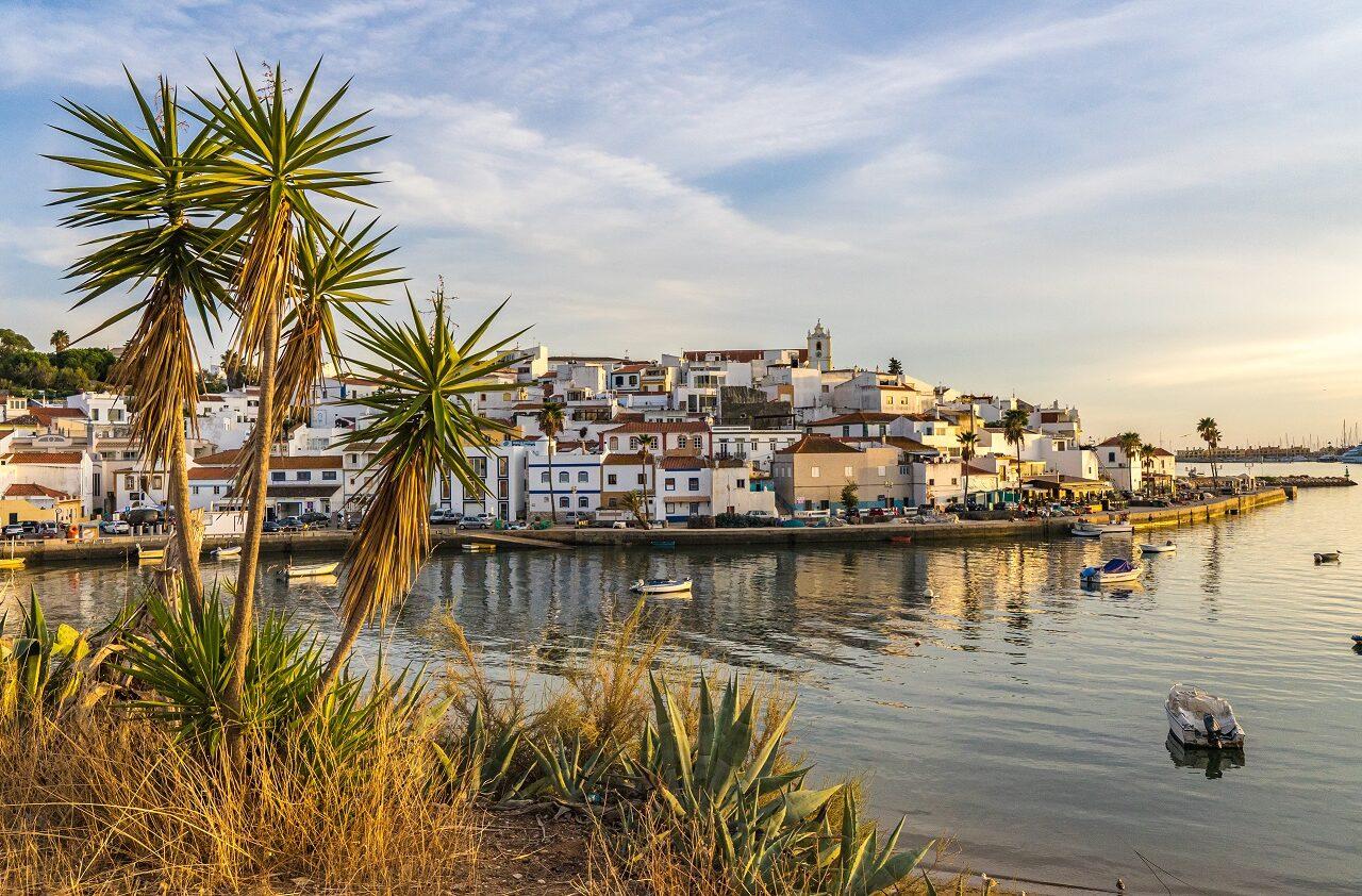 Uitzicht-op-vissershaven-Ferragudo-met-palmboom
